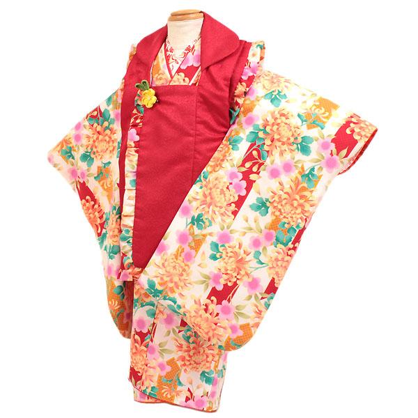 【レンタル】【七五三・3才女児】白/赤地|七五三|被布着物|3歳|被布セット|753|貸衣装|子供|レンタル|女の子|3歳被布セット|安い|往復送料無料