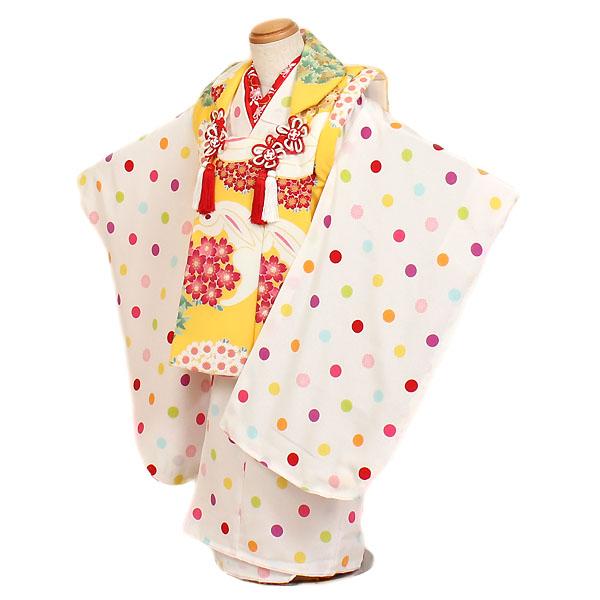 【レンタル】【七五三・3才女児】白・黄色地|七五三|被布着物|3歳|被布セット|753|貸衣装|子供|レンタル|女の子|3歳被布セット|安い|往復送料無料