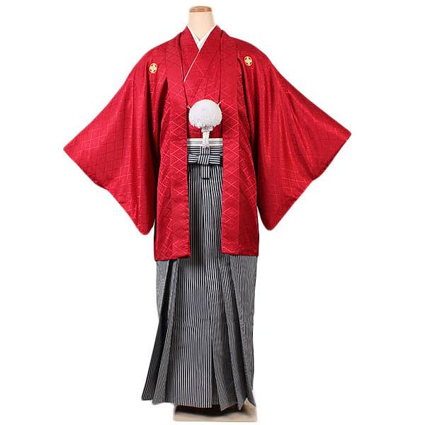 【成人式紋付袴】赤地
