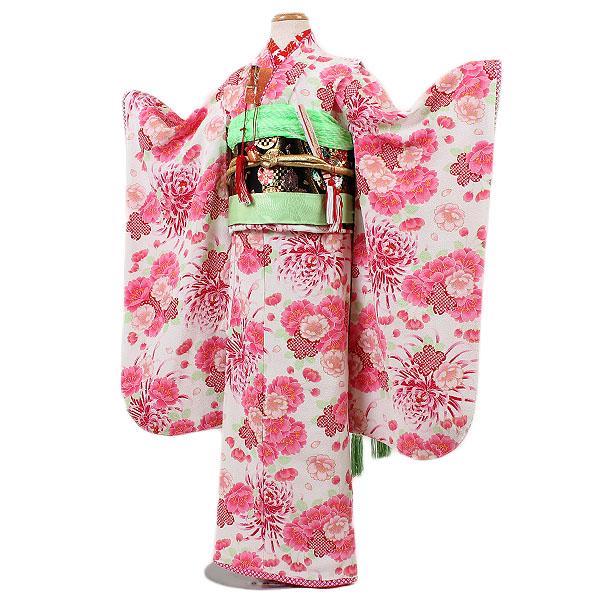 【レンタル】【七五三レンタル・7才女児着物『JAPAN STYLE』白地】ジャパンスタイル|ブランド|四つ身|7歳着物|753|七五三|7歳|女の子|子供|かわいい|往復送料無料