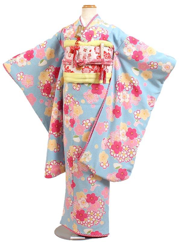 【レンタル】【七五三レンタル・7才女児着物『JAPAN STYLE』水色地】ジャパンスタイル|ブランド|四つ身|7歳着物|753|七五三|7歳|女の子|子供|往復送料無料