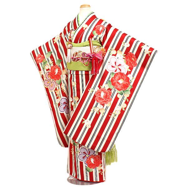 【レンタル】七五三・7才女児着物『KAGURA(カグラ)』赤系ストライプ ブランド 四つ身 7歳着物 753 七五三 7歳 女の子 子供 安い 往復送料無料
