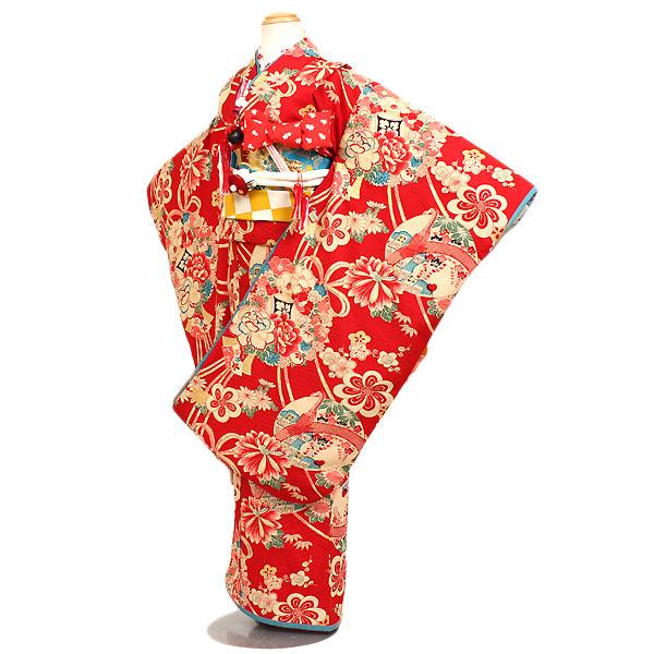 【レンタル】【七五三レンタル・7才女児着物『Modern Antenna』赤系】モダンアンテナ|ブランド|四つ身|7歳着物|753|七五三|7歳 女の子|子供|往復送料無料
