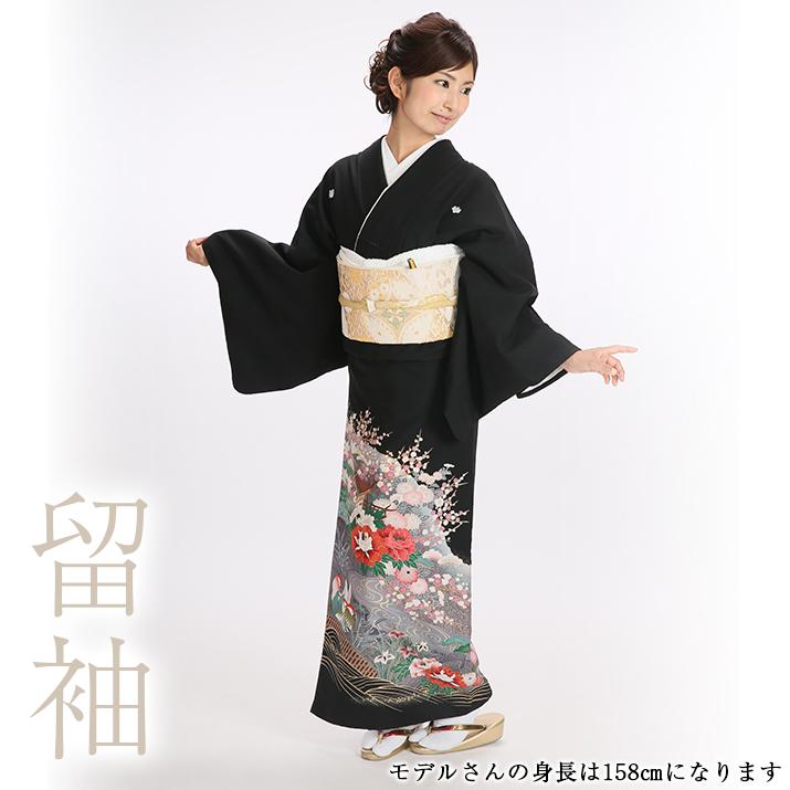 レンタル黒留袖 着物レンタル 結婚式 貸衣装 日本全国 送料無料 黒留袖レンタル18点フルセット 礼装 安い おすすめ とめそで 母親 女性和服 供え 足袋プレゼント 観世水おしどり
