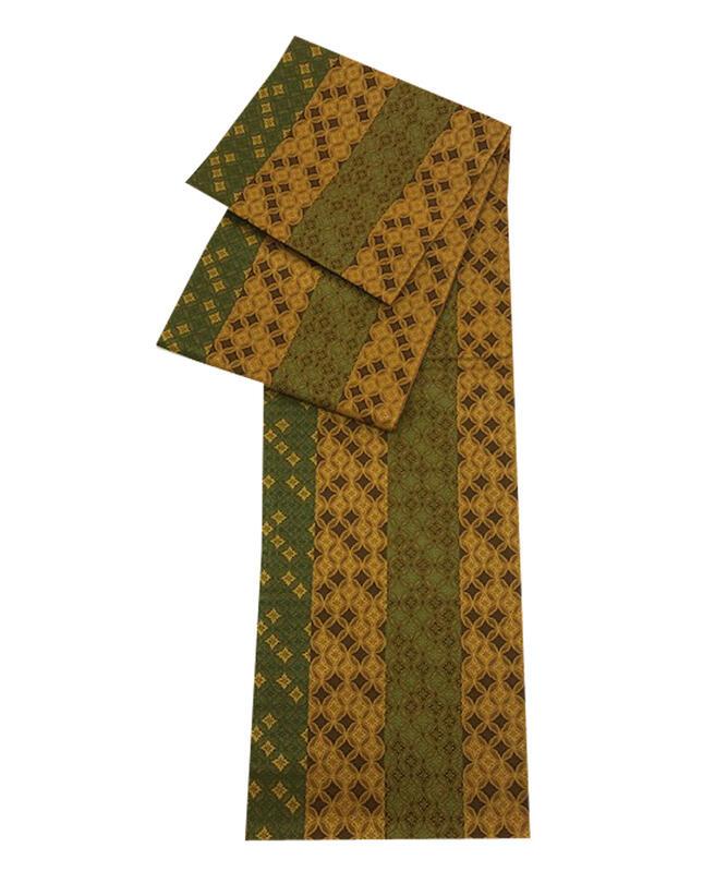 正絹 袋帯 あす楽 女性 レディース お洒落袋帯 七宝柄 お仕立て上がり 黄金色 全通柄 中古未使用品 ガード加工 正絹袋帯 kn-029