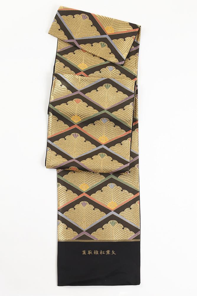 正絹袋帯(菱取雅松葉文)fo-015
