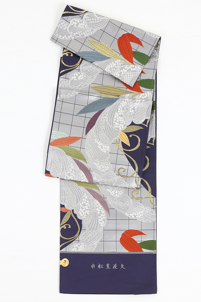 正絹袋帯(市松薫花文)fo-046
