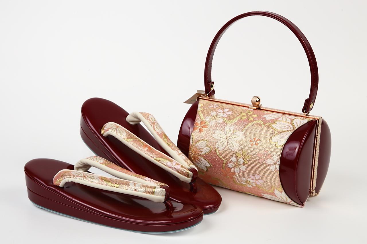 振袖用金糸エナメル草履バックセット フリーサイズzb-023