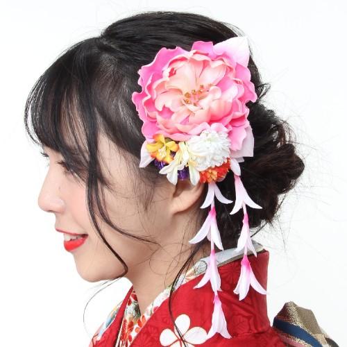 日本製 成人式 卒業式 オンラインショッピング 髪飾り 2P 送料無料 2点セット 花 コサージュ サクラ 桜 新作からSALEアイテム等お得な商品 満載 ヘアアクセサリー 振袖向け 金色 レッド Uピン式 コーム式