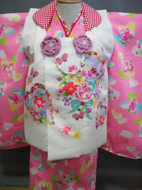 送料無料 3歳子供着物 被布ときもののセット ピンク色にハート