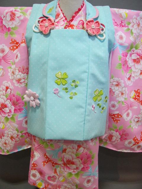 送料無料 3歳子供着物 被布ときもののセット 式部浪漫 ピンクに花