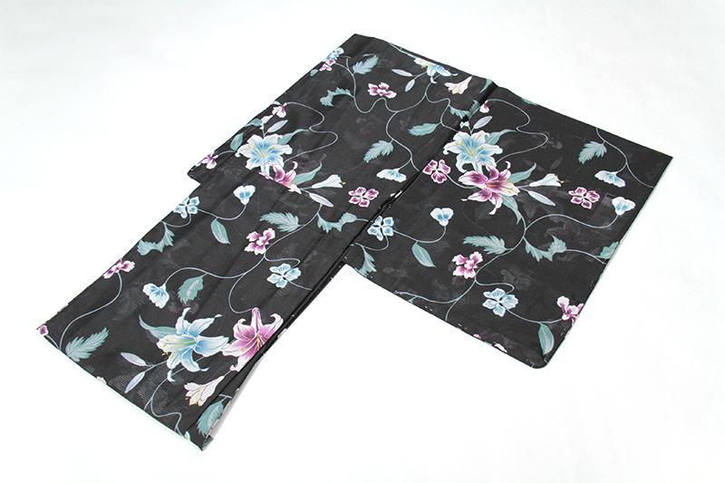 【女性 夏着物】黒に花唐草と百合 仕立て上がり 絽着物 Mサイズ 洗える着物 和遊日【k140624】【10P01Nov14】