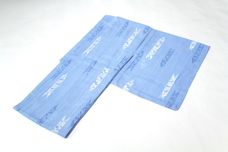 オンラインショッピング 送料無料の涼しげな絽の夏着物 女性 夏着物 ブルー矢羽に朝顔 仕立て上がり 絽着物 洗える着物 2020モデル 忘れな草 Lサイズ k140624 10P01Nov14