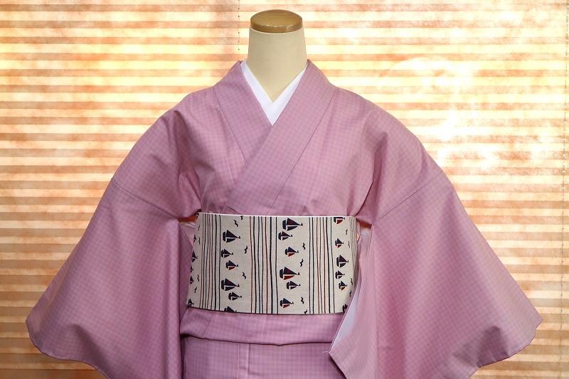 【新品 女性 洗える着物NK-20】新品 女性カジュアル着物 ピンクチェック 洗える キュート Mサイズ