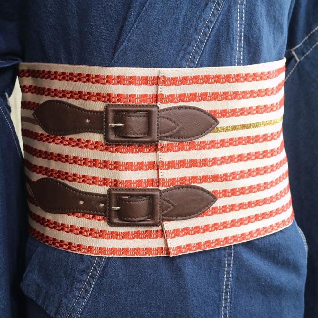 【半幅ベルト帯 赤ストライプ】 女性用 Mサイズ Lサイズ 着物ベルト 半巾帯 創作帯 作り帯 カジュアル デニム着物