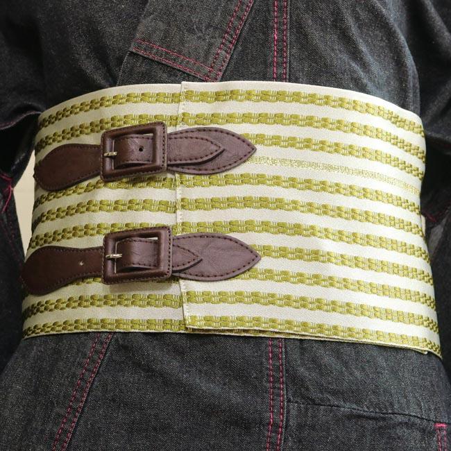 【半幅ベルト帯 グリーン ストライプ】女性用 Mサイズ Lサイズ 着物ベルト 半巾帯 創作帯 作り帯 カジュアル デニム着物