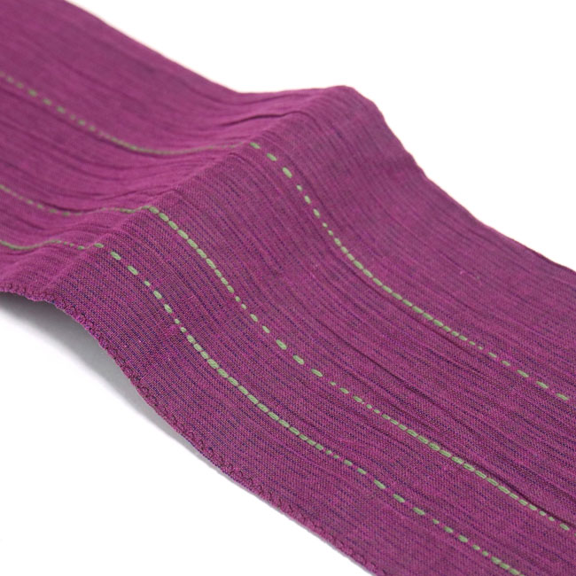 【男の帯 MO-62a】ひでや工房 角帯 赤紫 ステッチ 綿角帯 浴衣帯 着物帯 長め シンプルデザイン