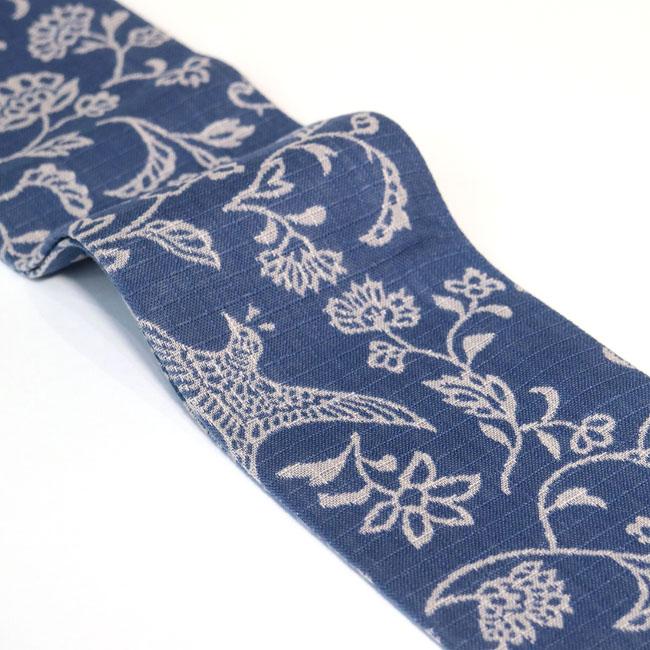 【ひでや工房 角帯 MO-72】ブルーグレー花鳥柄 青 木綿帯 浴衣帯 着物帯 長め 4m ベルト 個性的 着物ベルト 細め