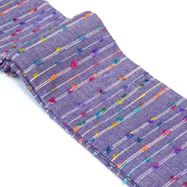 【ひでや工房 角帯 MO-73】紫 リボン糸 すみれ色 綿角帯 大人 モダン 個性的 カジュアル 着物帯 浴衣帯 ベルト ポップ 長め4m