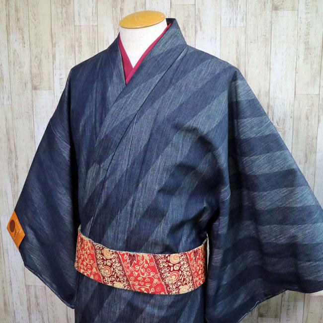 【岡山デニム着物 MK-58】インディゴ デニム ななめ柄 ストライプ 着物 岡山デニム Mサイズ Lサイズ LLサイズ カジュアル 木綿 洗える オシャレ 普段着 しなやか 着やすい 薄手 国産デニム denim kimono