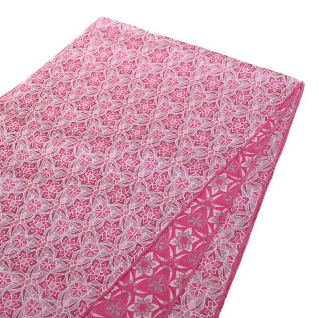 【女性 兵児帯 LO-76】ステンドグラス兵児帯 モザイク 幾何学柄 花 ピンク 桜色 リバーシブル 浴衣 着物 半幅帯 名古屋帯 フリル帯 カジュアル 簡単締めやすい 張りがある ポリエステル ジャガード織り 可愛い