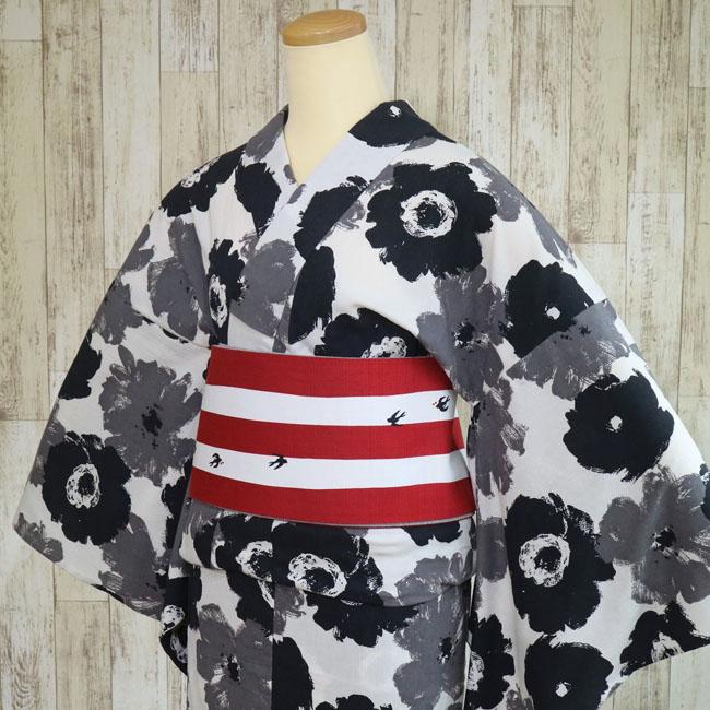 【ひでや工房 浴衣 LY-71】花 マリメッコ風 モノトーン 単衣 モダンアート ドレス 可愛い 花 女性 洗える 祭り 浴衣 着物 カジュアル パーティ 街着 バチ衿 コート yukata kimono