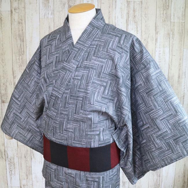 【男の浴衣 MY-110】男衆浴衣 網代格子柄 グレー メンズ浴衣 綿 洗える 夏着物 柄ゆかた 日本の綿&染め Sサイズ Mサイズ Lサイズ LLサイズ 3Lサイズ yukata kimono