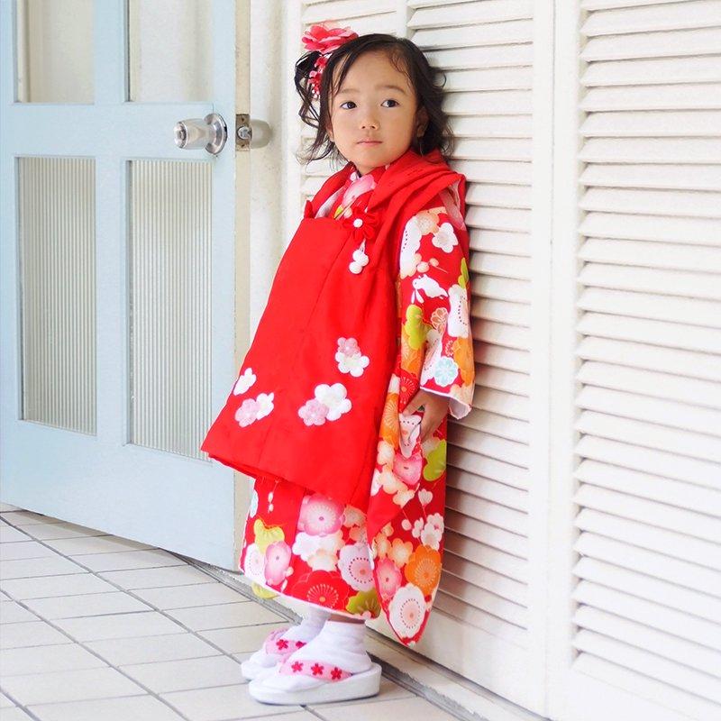 【レンタル】七五三 着物 3歳 赤×赤 梅とうさぎレンタル 3歳女の子 被布 七五三着物 被布セット ひな祭り 貸衣装 [K018]