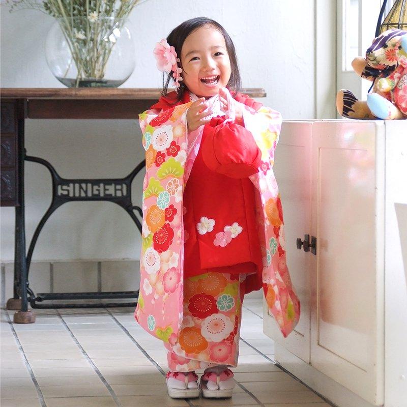 【レンタル】七五三 着物 三歳 赤×ピンク 梅とうさぎ[K019]七五三 フルセット レンタル 三歳女の子 七五三 被布 七五三 三歳 着物
