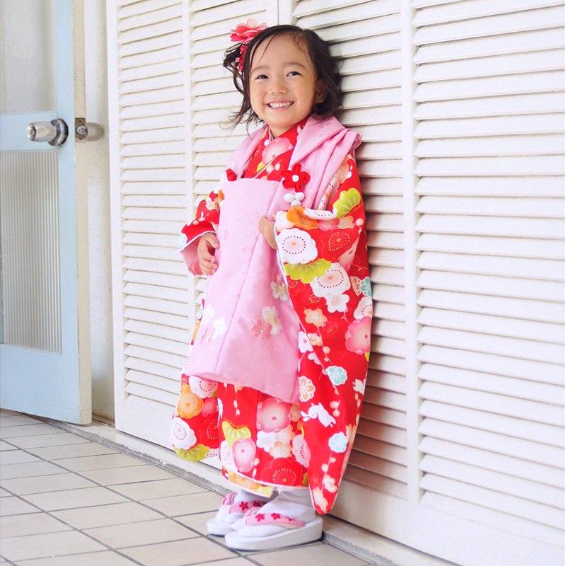 【レンタル】七五三 着物 3歳 ピンク×赤 梅とうさぎレンタル 3歳女の子 被布 七五三着物 被布セット ひな祭り 貸衣装 [K021]