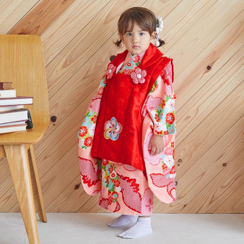 【レンタル】七五三 着物 三歳 赤×ピンク 鶴に梅と薬玉[K027]七五三 フルセット レンタル 三歳女の子 七五三 被布 七五三 三歳 着物