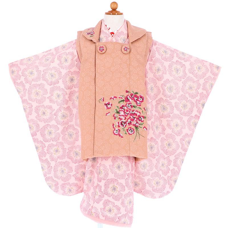 【レンタル】七五三 着物 三歳 JILLSTUART ピンク 刺繍菫の花[K036]七五三 フルセット レンタル 三歳女の子 七五三 被布 七五三 三歳 着物