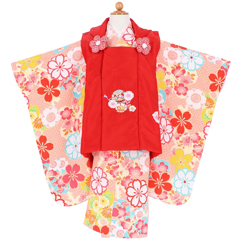 【レンタル】七五三 着物 三歳 赤×黄色・ピンク 桜梅[K049]七五三 フルセット レンタル 三歳女の子 七五三 被布 七五三 三歳 着物