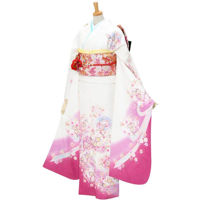 【レンタル】 振袖 レンタル セット[R254]白 ピンク桜と蝶々のメルヘン(絹)結婚式 結納 パーティー レンタル 振袖 着物 レンタル 振り袖 フルセット 貸衣装 ふりそで フリソデ 送料無料[一部地域を除く]