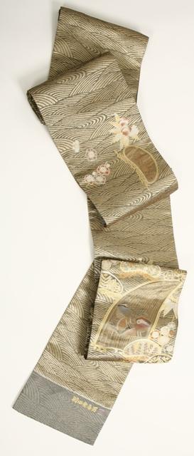 送料無料逸品 人間国宝・羽田登喜男監修 おしどりの袋帯最高級品・正絹 袋帯 未仕立て特別セール価格見逃せない!