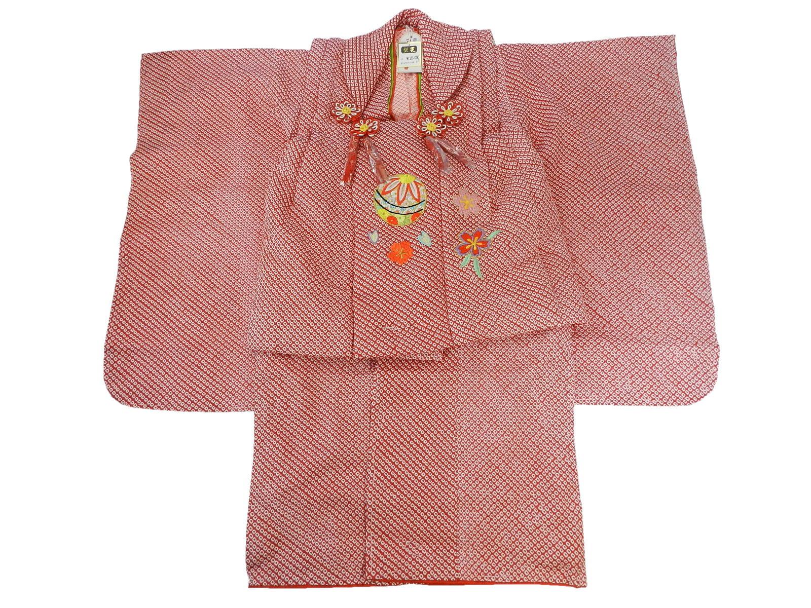 正絹・総絞り・七五三 3歳用 被布コート 赤色被布コートセット女児被布フルセット高級品お祝い価格
