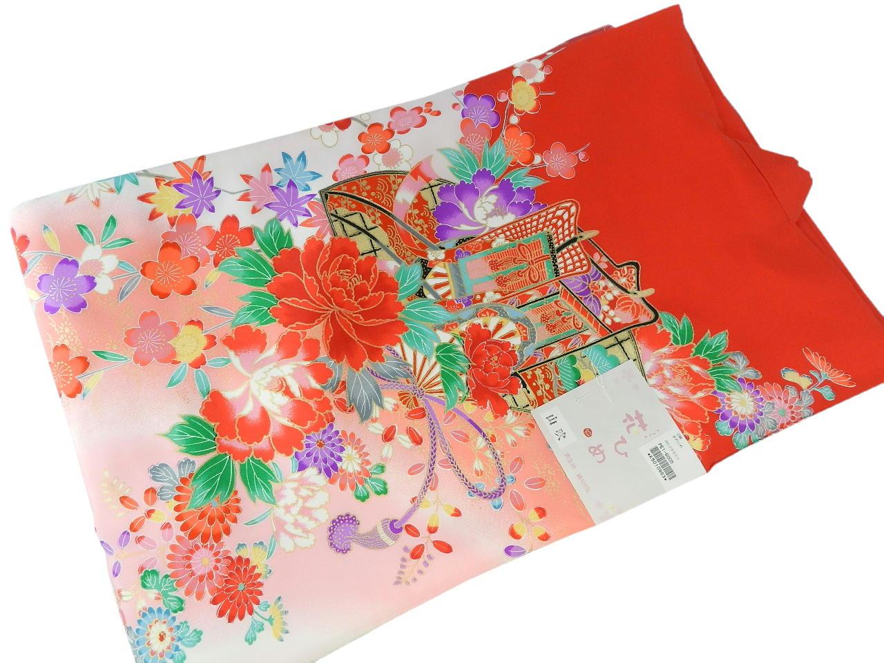 宮-4女の子女児正絹 宮参りの着物 襦袢付き祝い着セット価格産着 一つ身 のしめ祝着 着物 正絹  新品