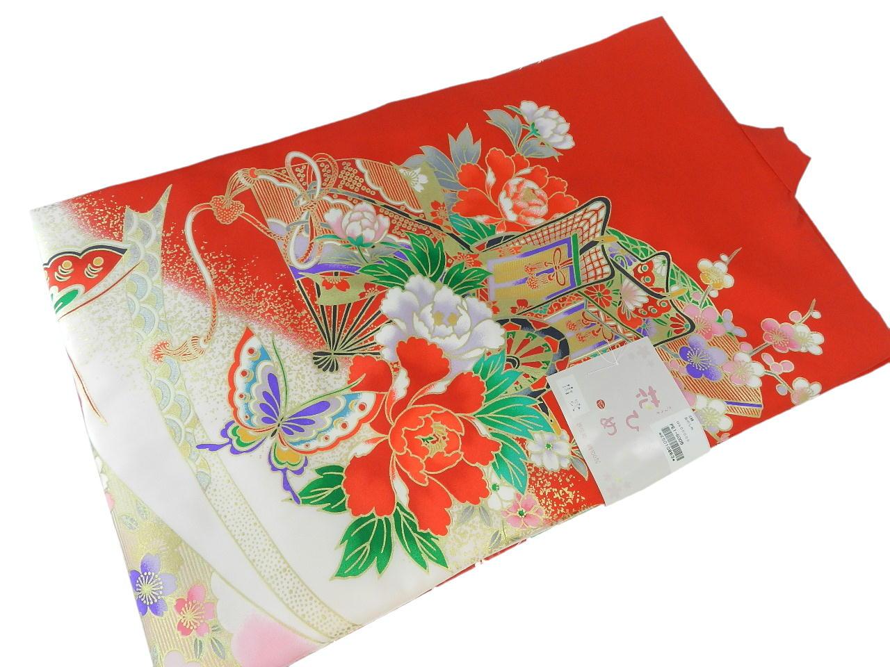 宮-5女の子女児正絹 宮参りの着物 襦袢付き祝い着セット価格産着 一つ身 のしめ祝着 着物 正絹  新品