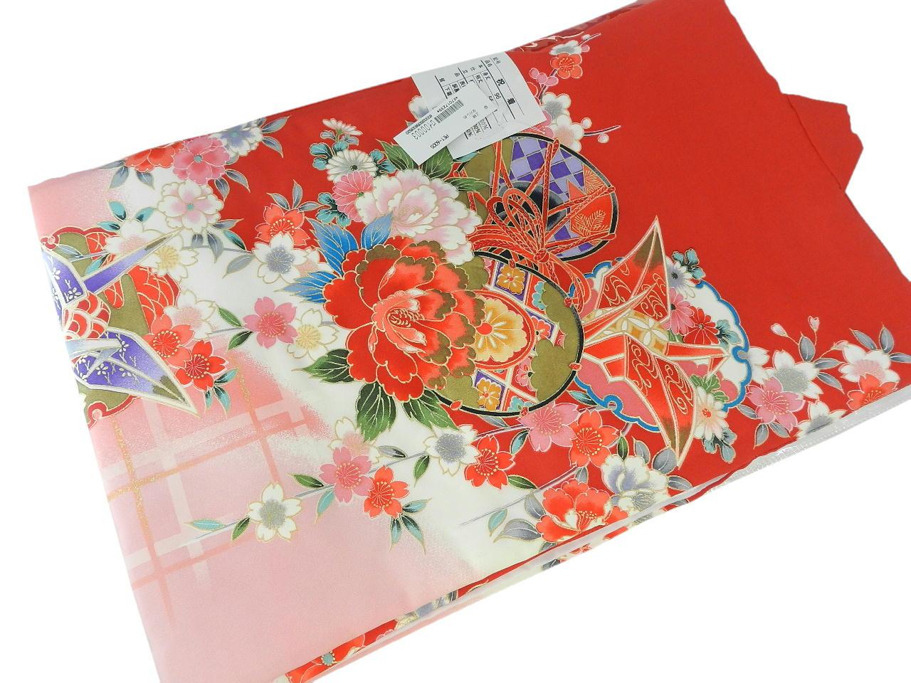 宮-7女の子女児正絹 宮参りの着物 襦袢付き祝い着セット価格産着 一つ身 のしめ祝着 着物 正絹  新品
