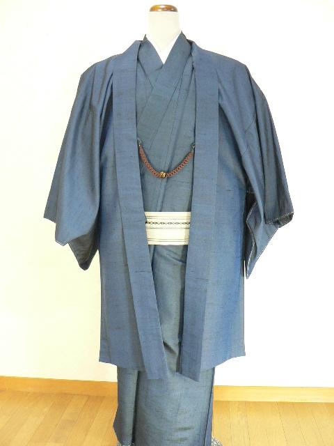 正絹 紺色  アンサンブル着物と羽織のセットが