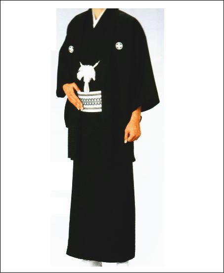 男の紋付 羽織と着物セット 仕立て上がり定番 黒の紋付セットです紋は羽織に入ります
