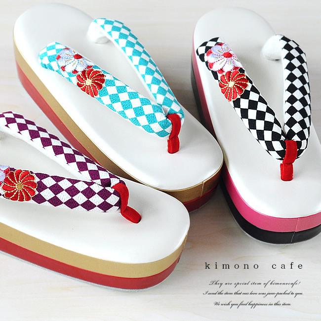 kimono cafe 成人式 振袖 草履 ぞうり 単品 LINE友達登録で10%OFFクーポン ダイヤ柄 ねじ菊 刺繍 可愛い 一部予約 定価 レトロ 痛くない 大きい コバルト フリーサイズ 厚底 紫 黒 歩きやすい