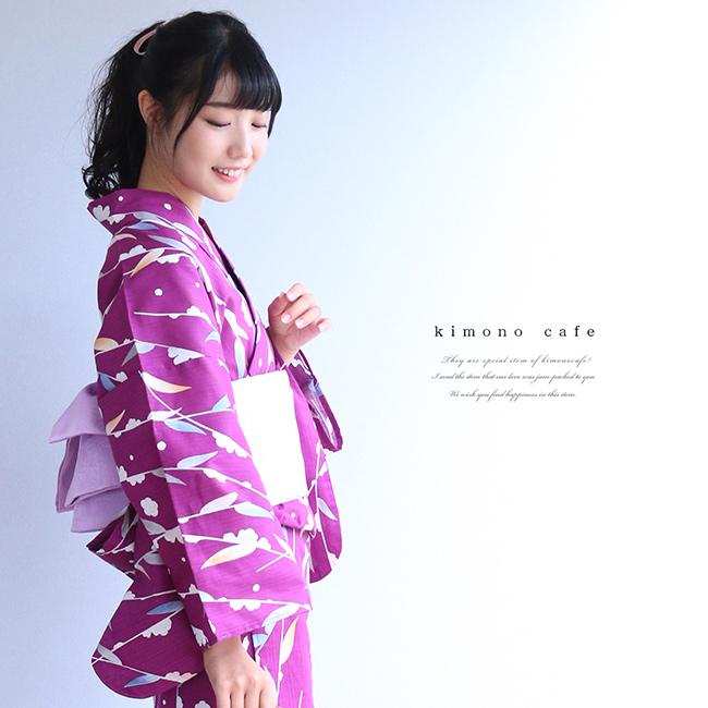 レディース 浴衣 単品 柳 ネイビー パープル Sサイズ フリーサイズ TLサイズ ワイドサイズ