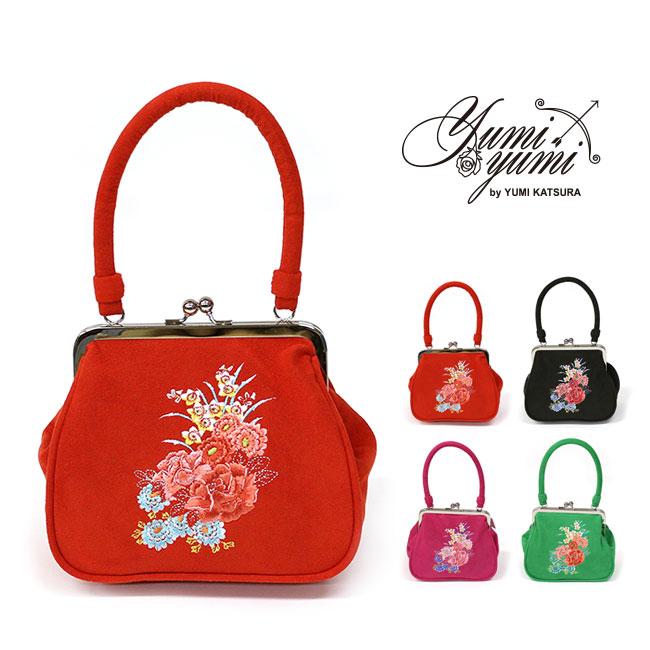 振袖用 バッグ yumiyumi 薔薇 刺繍 スエード がま口 桂由美