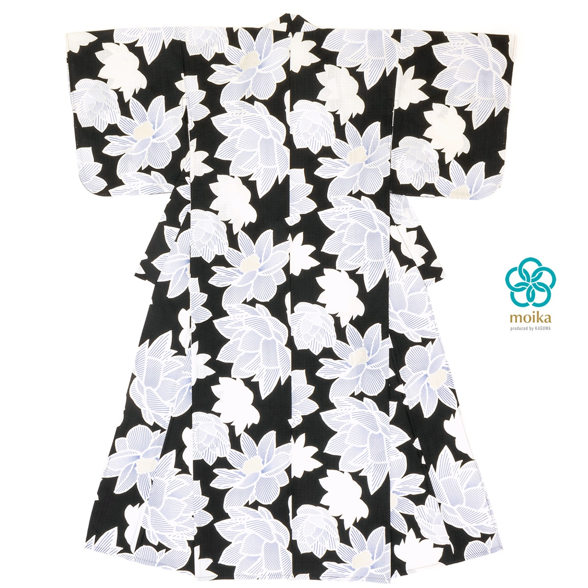 moika 浴衣 レディース 単品 Mサイズ レトロ 黒 ブラック 蓮 花 フラワー 衿芯付き 女性用 仕立て上がり