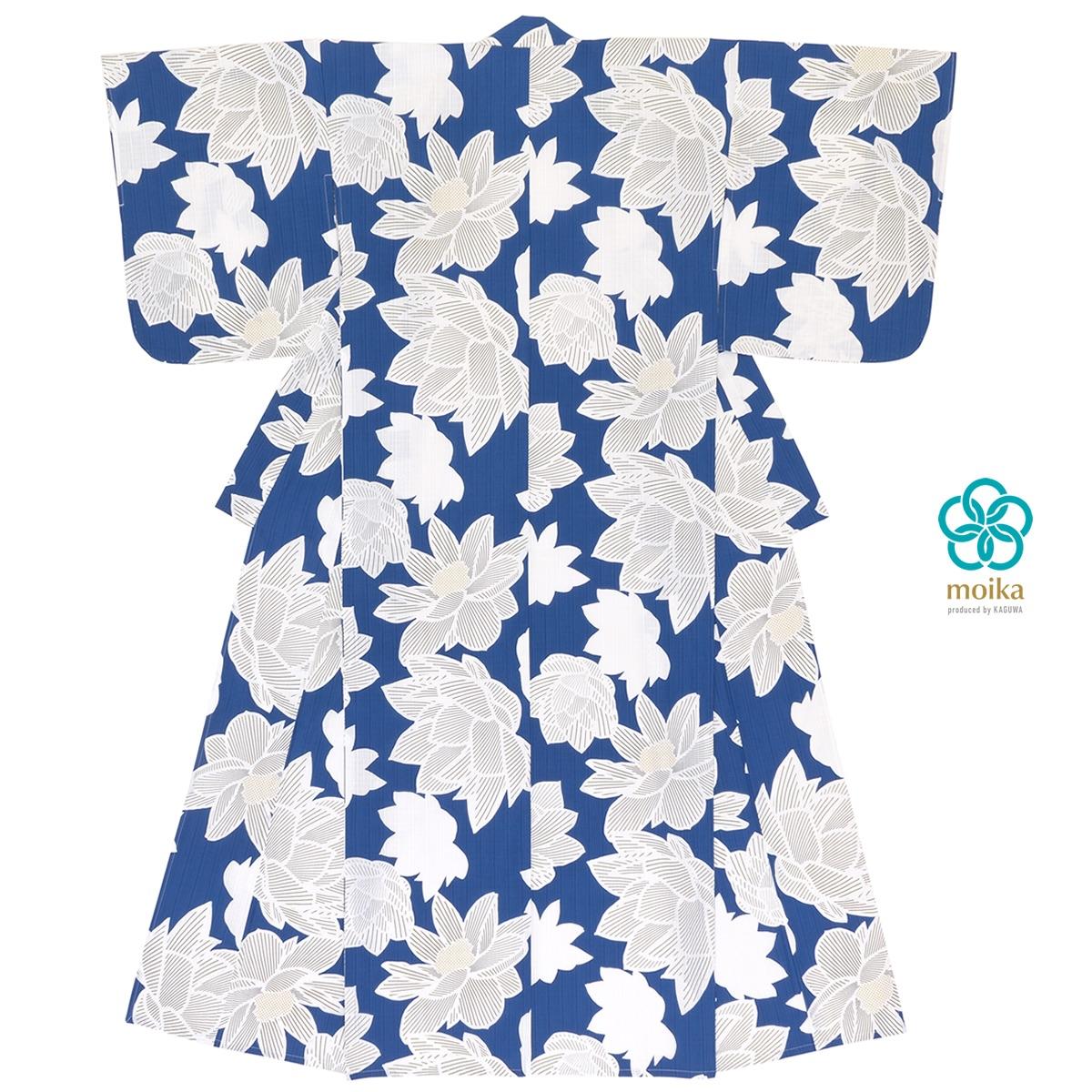 moika 浴衣 レディース 単品 Mサイズ レトロ 青 ブルー 蓮 花 フラワー 衿芯付き 女性用 仕立て上がり