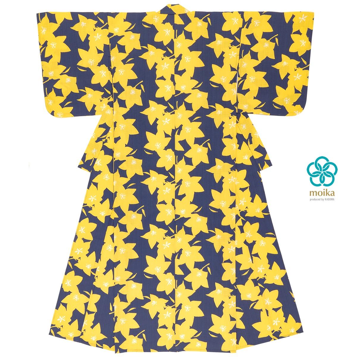 moika 浴衣 レディース 単品 Mサイズ レトロ 紺 ネイビー 桔梗 花 フラワー 衿芯付き 女性用 仕立て上がり