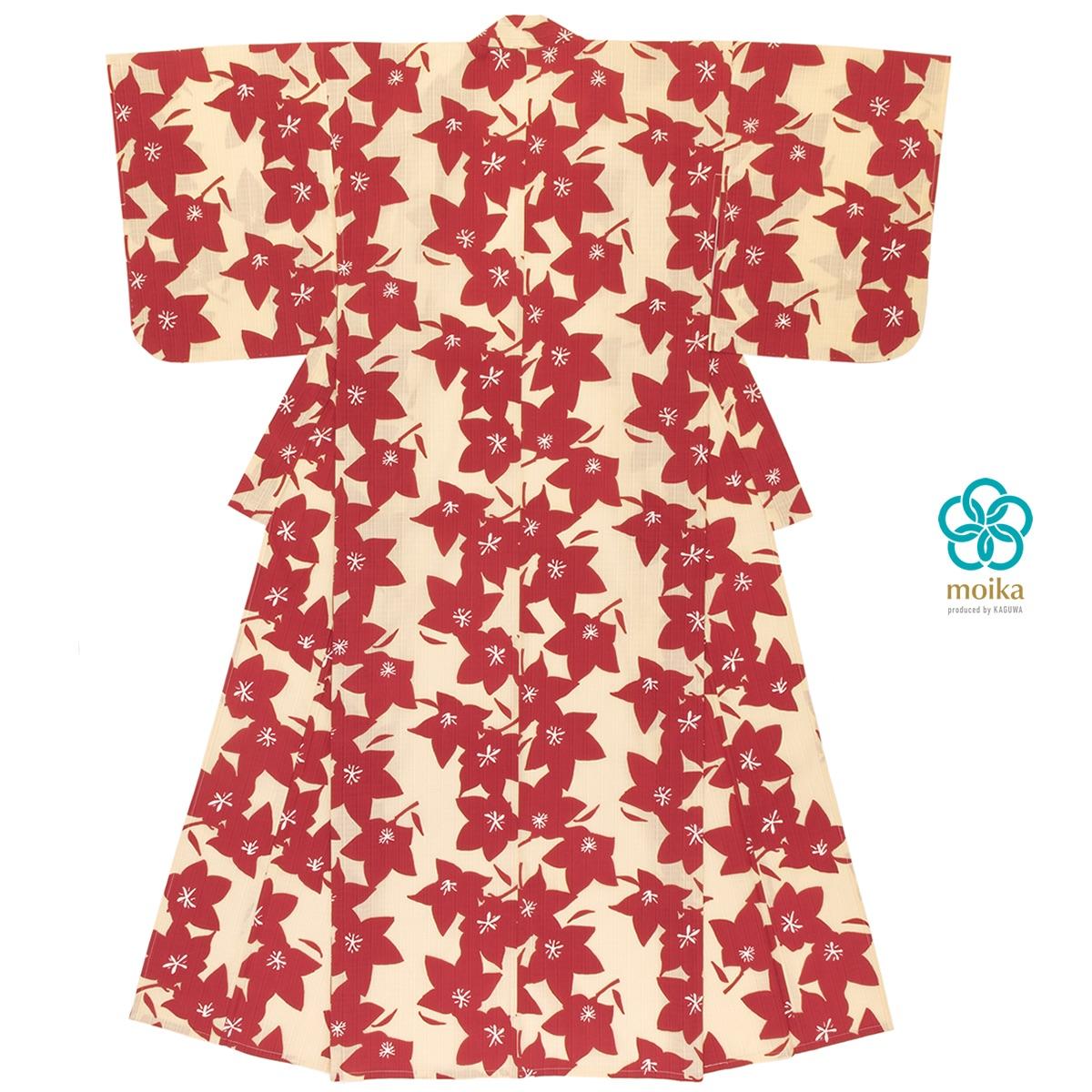 moika 浴衣 レディース 単品 Mサイズ レトロ 赤 レッド 桔梗 花 フラワー 衿芯付き 女性用 仕立て上がり