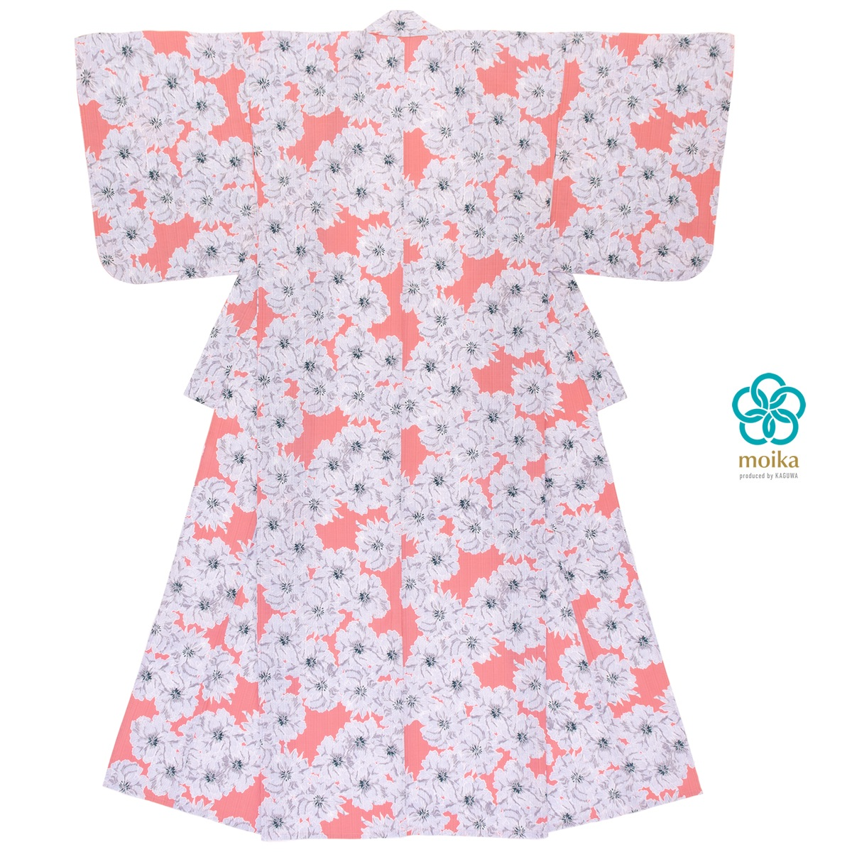 moika 浴衣 レディース 単品 Mサイズ レトロ サーモンピンク 芍薬 花 フラワー 衿芯付き 女性用 仕立て上がり