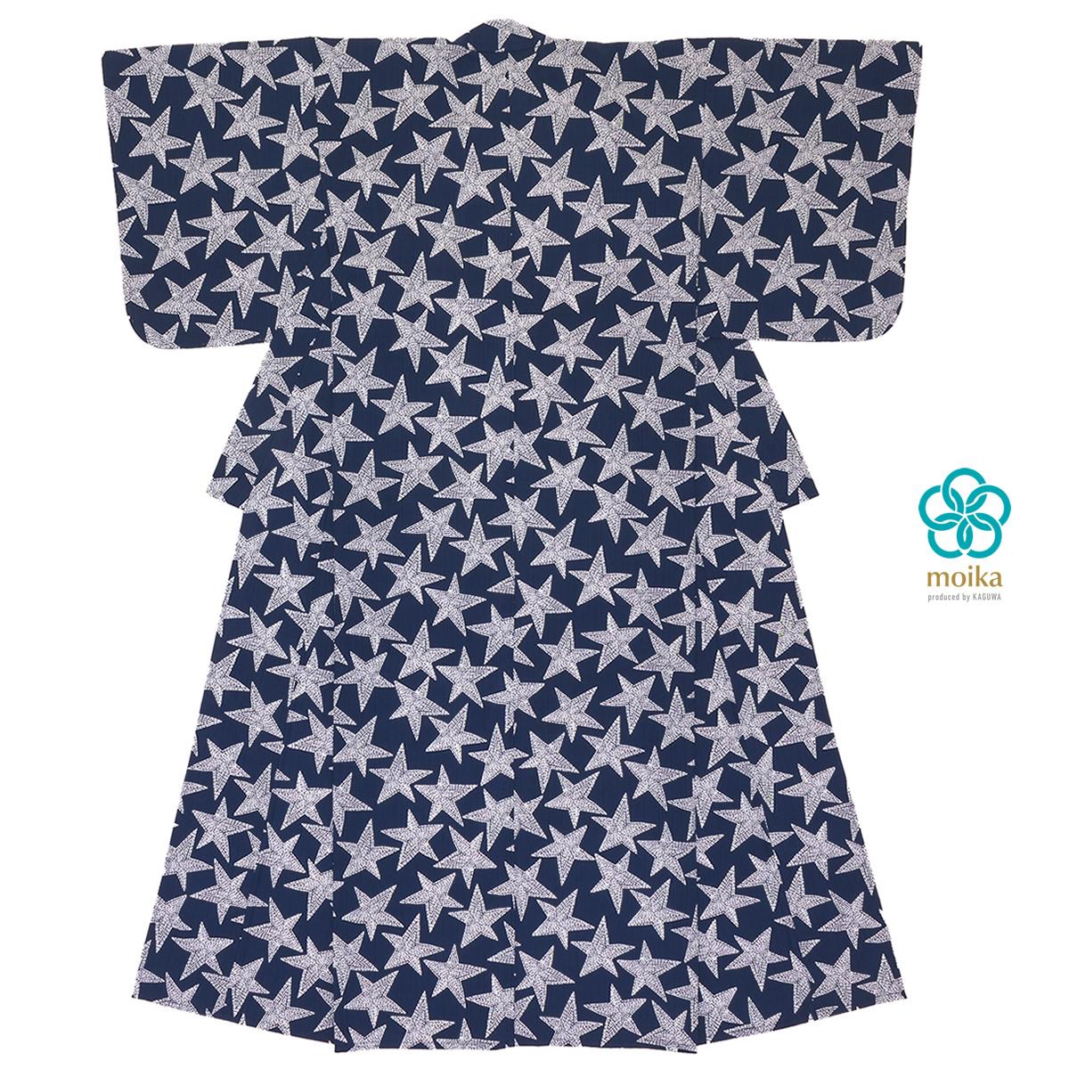 moika 浴衣 レディース 単品 Mサイズ レトロ 紺 ネイビー 刺し子 星 スター 小紋 衿芯付き 女性用 仕立て上がり